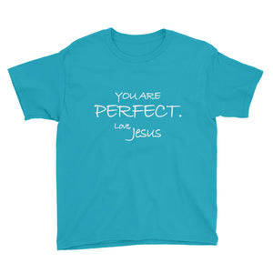Youth Short Sleeve T-Shirt---You Are Perfect. Love, Jesus---Click for More Shirt Colors