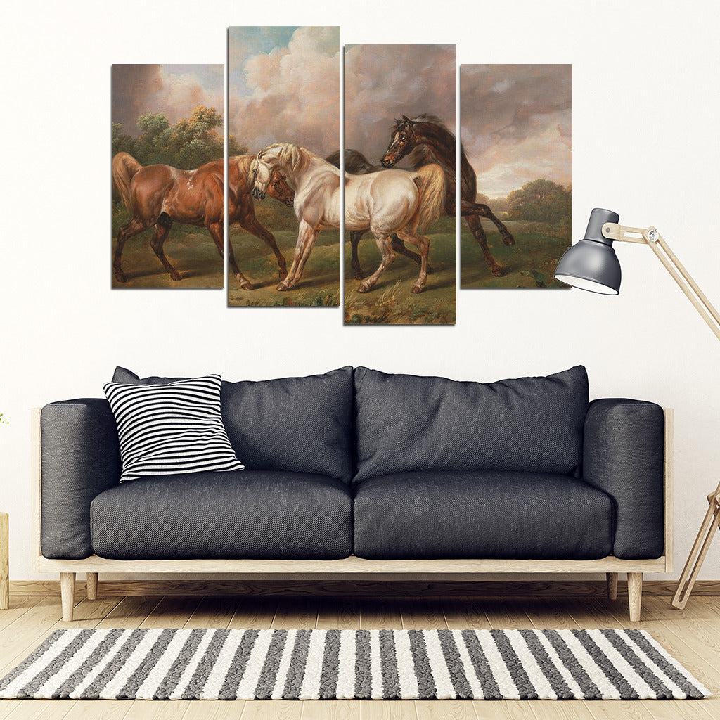 Wild Stallion Horses 4 panel Canvas Print