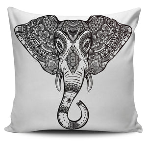 Decorative Ornate Elephant Print Pillow Cover