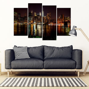 New York City Night Skyline Reflection Multi-panel Canvas Wall Art Print - Limited Edition