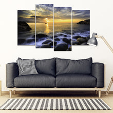 Fishing at Dawn Multi-panel Canvas Print Wall Art