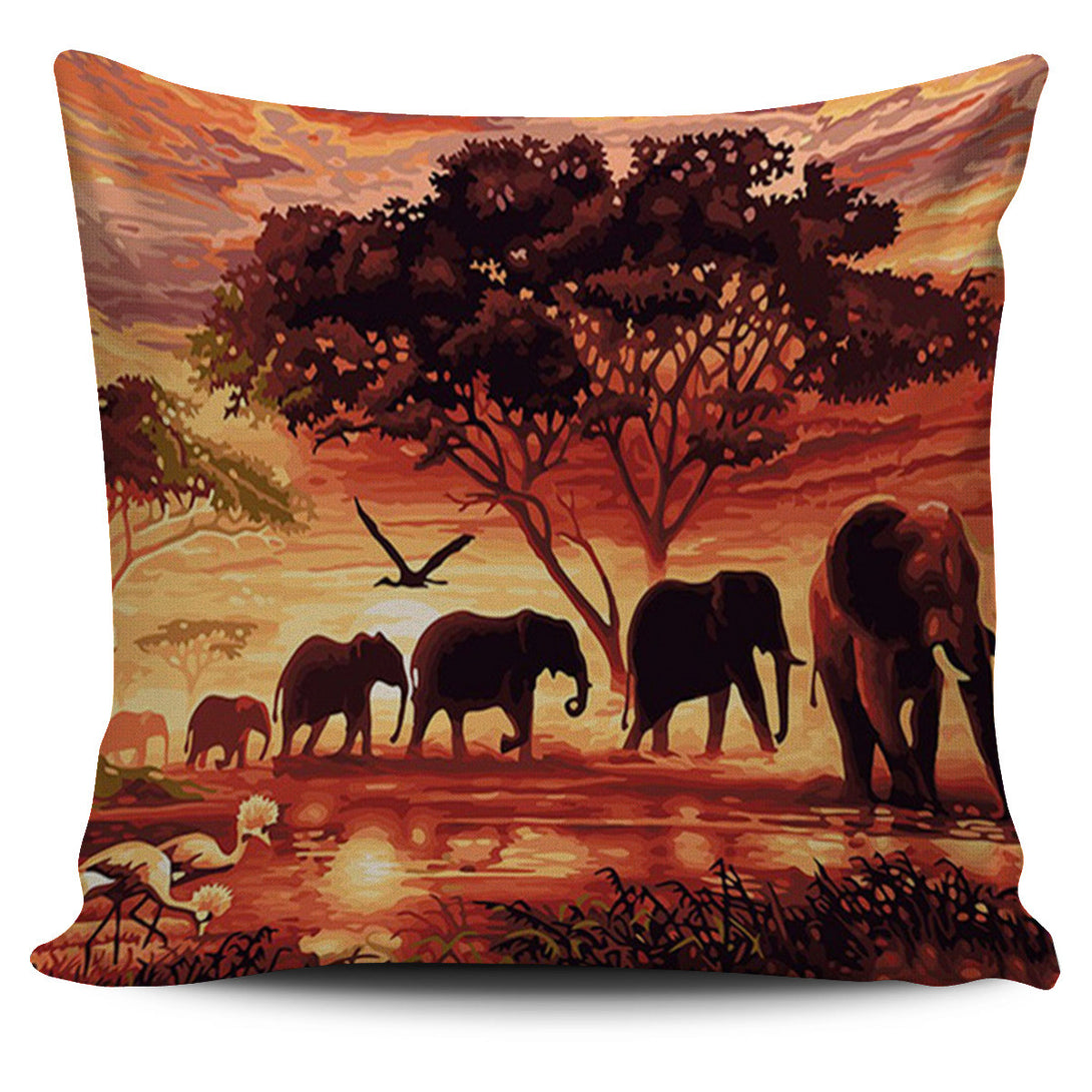 African Elephant Sunset Pillow Cover