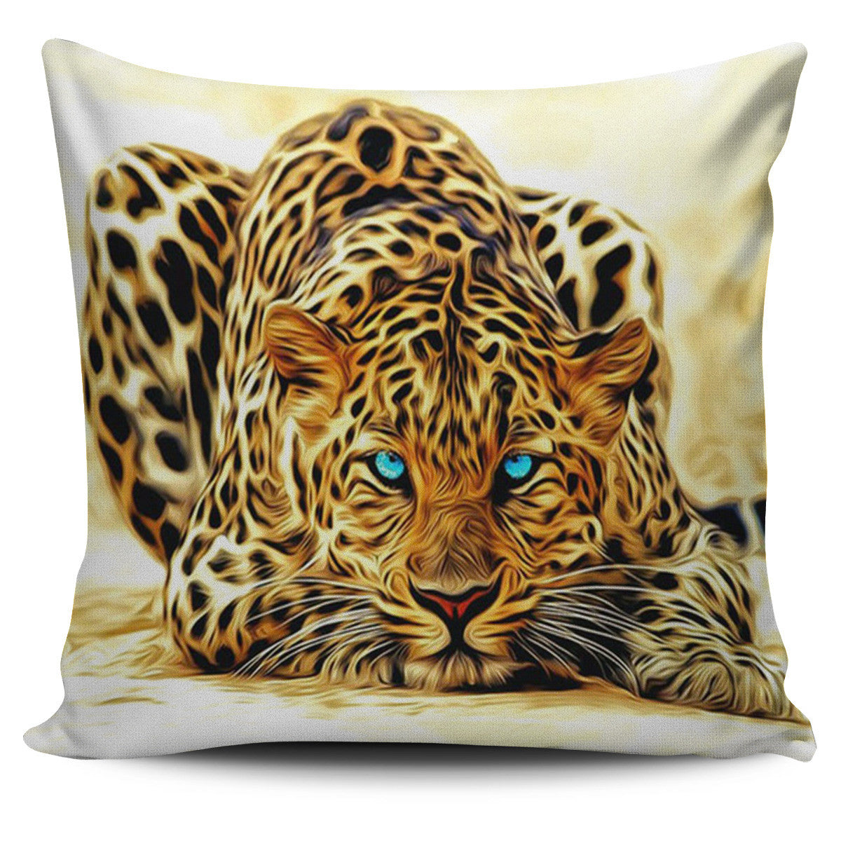 Watchful Leopard Print Pillow Cover