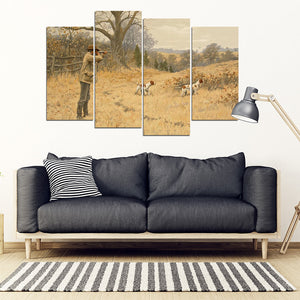 Quail Hunting the Flush Multi Panel Canvas Wall Art