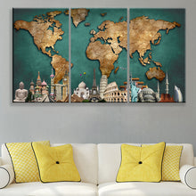 World Map Monuments Green Backgournd 3 piece HQ Canvas Wall Art Print - Limited Edition