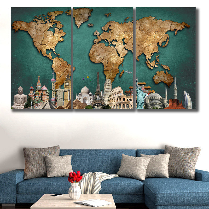 World Map Monuments Green Backgournd Piece HQ Canvas Wall Art - 3 piece world map wall art