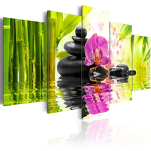 5 Panel Buddha Spa Stone Bamboo Orchid Wall Canvas Print