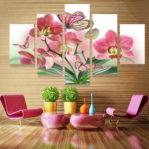 Butterfly Flower Canvas Print 5 Pieces