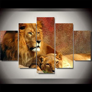 Lion Couple Canvas Print 5 Pieces