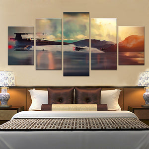 Star Wars X-Wings over Water 5 piece Canvas Wall Art Print - Limited Edition