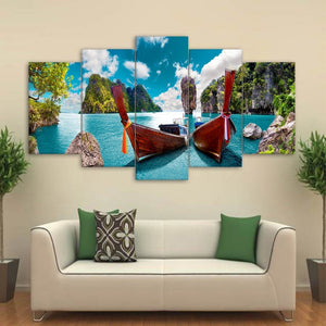 Phuket Thailand Fishing Boats Canvas Print 5 Pieces