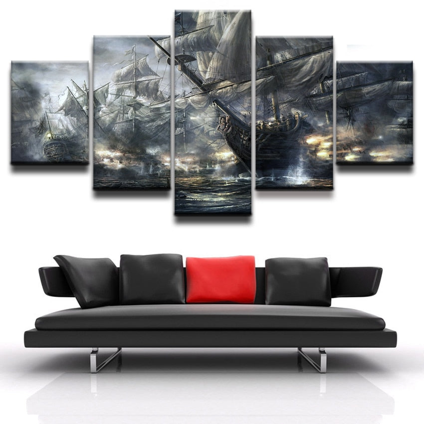 Ships On The Sea Canvas Print 5 Piece