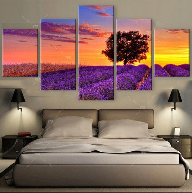 Picture Perfect Sunset Art Deco 5 piece HQ Canvas Wall Art Print - Limited Edition