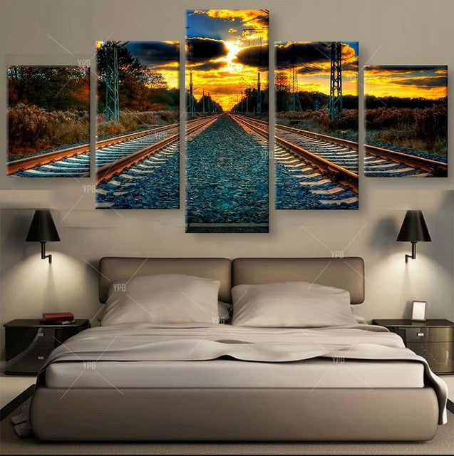 Dual Tracks at Sunset Art Deco 5 piece HQ Canvas Wall Art Print - Limited Edition
