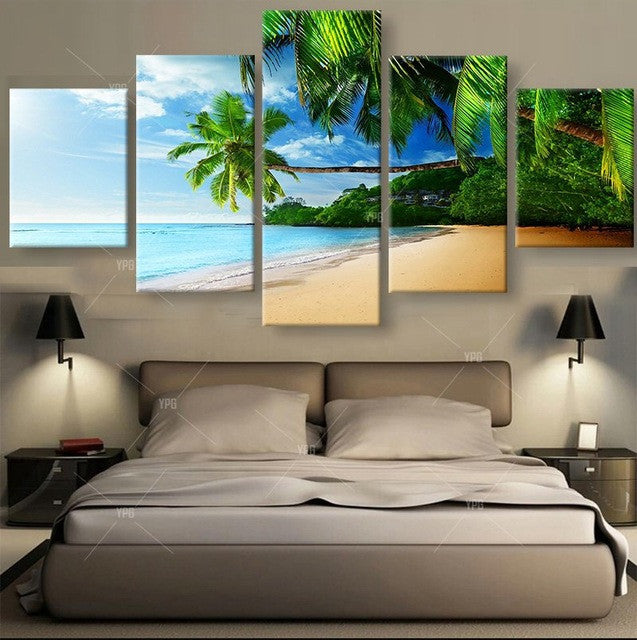Tropical Beach Solitude 5 piece Canvas Wall Art Print - Limited Edition