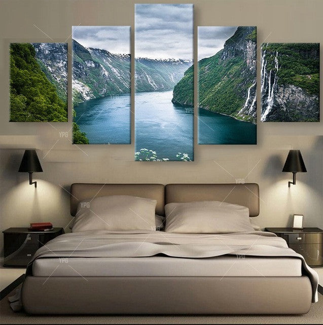 River and Canyon Home Decor 5 piece Canvas Wall Art Print - Limited Edition