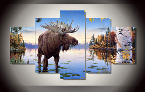 Bull Moose Feeding in Shallows 5 piece HQ Canvas Wall Art Print - Limited Edition