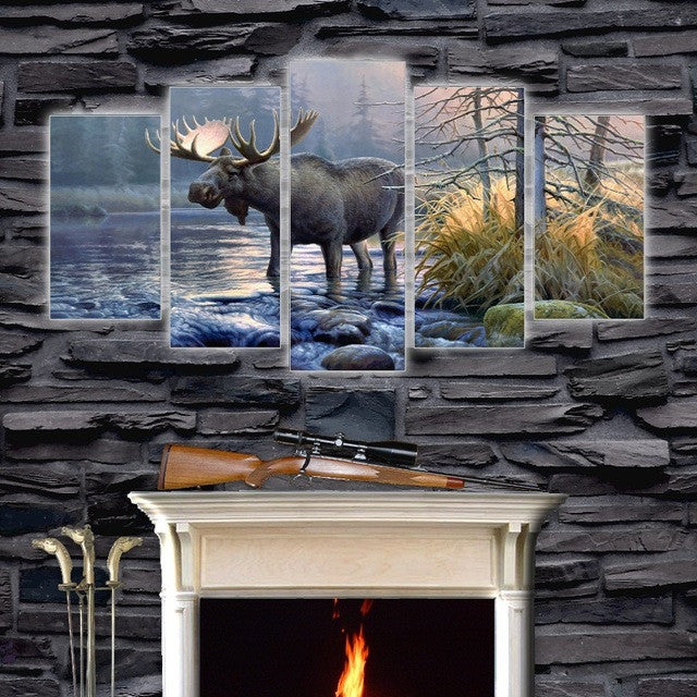 Bull Moose Crossing Stream 5 piece HQ Canvas Wall Art Print - Limited Edition