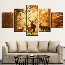 Red Maple Forest Elk Canvas Print 5 Pieces