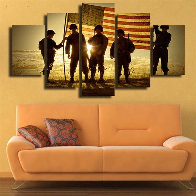 Military with Flag at Sunset 5 piece Canvas Wall Art Print - Limited Edition