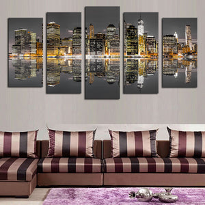 New York City Night Skyline Reflection 5 piece Canvas Wall Art Print - Limited Edition