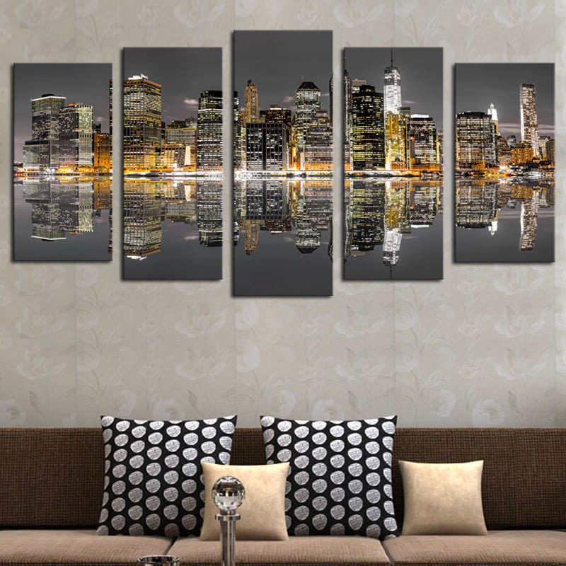 High Lights Of New York Skyline Canvas Wall Art: New York City Night Skyline Reflection 5 Piece Canvas Wall