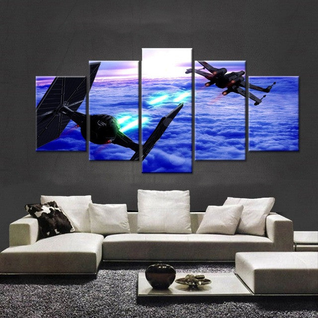 Star Wars TIE Fighter X-Wing Battle 5 piece Canvas Wall Art Print - Limited Edition