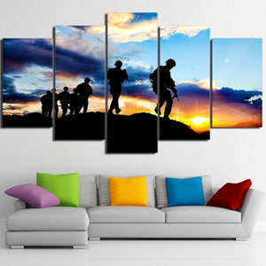 Army Soldiers Canvas Print 5 Piece