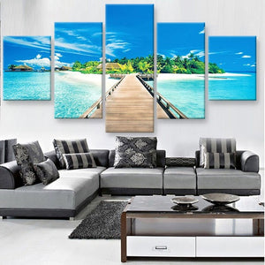 Pier to Paradise Seascape 5 piece HQ Canvas Wall Art Print - Limited Edition