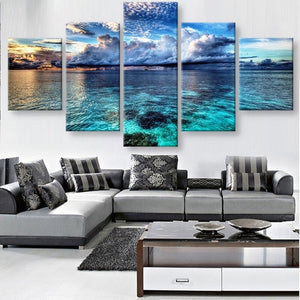Calm before the Storm Seascape 5 piece HQ Canvas Wall Art Print - Limited Edition