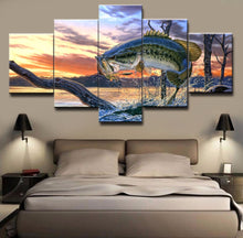 Jumping Bass Fishing 5 piece HQ Wall Print - Limited Edition