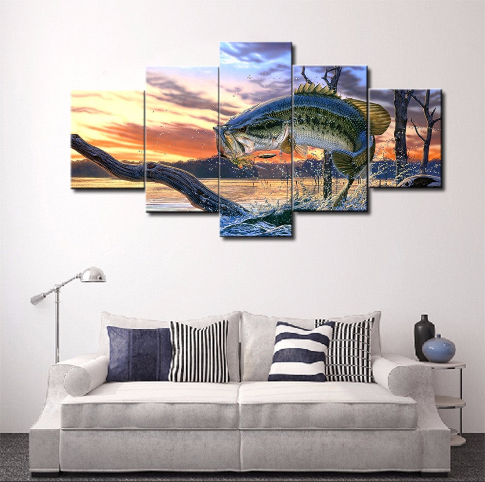 jumping bass fishing 5 piece hq wall print limited edition canvas frenzy. Black Bedroom Furniture Sets. Home Design Ideas