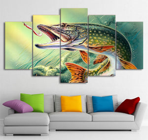 Northern Pike Striking Fishing 5 piece Wall Print - Limited Edition