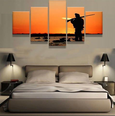 Duck Hunting End of Day Sunset 5 piece HQ Canvas Wall Art Print - Limited Edition