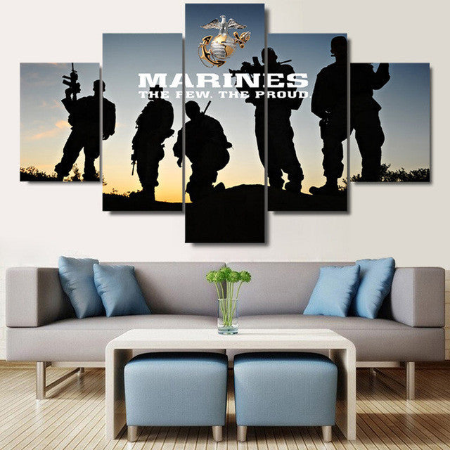 United States Marines 5 piece Canvas Wall Art Print - Limited Edition