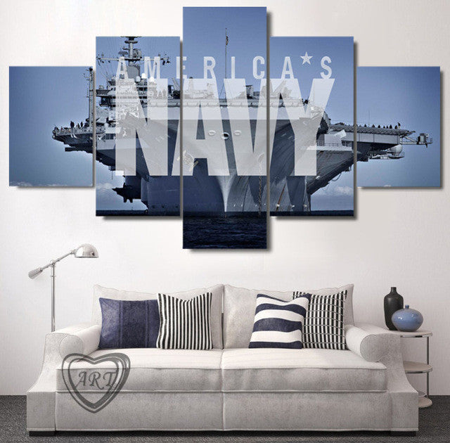 U.S. Navy Aircraft Carrier 5 piece Canvas Wall Art Print - Limited Edition