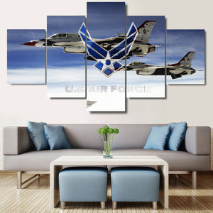 Air Force F-16 Fighters 5 piece Canvas Wall Art Print - Limited Edition