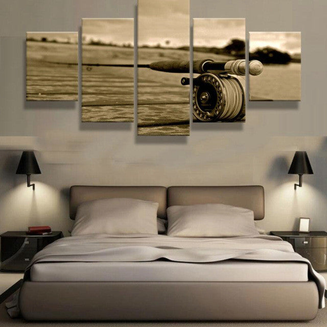Fly Rod Fly Fishing 5 piece HQ Canvas Wall Art Print - Limited Edition