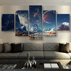 Mountains and Space 5 piece Canvas Wall Art Print - Limited Edition