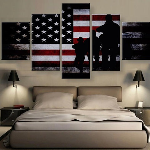 Military Silhouette with Flag at Sunset 5 piece Canvas Wall Art Print - Limited Edition
