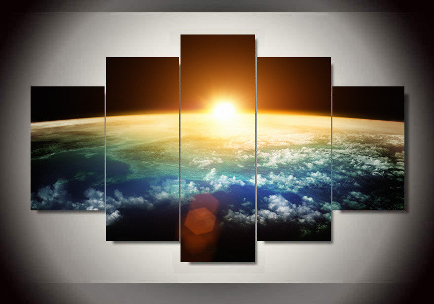 Sun Rising Over Earth 5 Piece Hq Canvas Wall Art Print