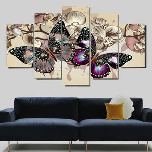 Butterflies Modern Abstract 5 panel Canvas Wall Art Print - Limited Edition