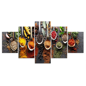 Food Spices Canvas Print 5 Pieces