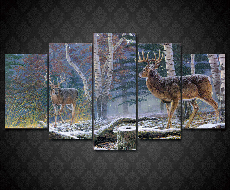 Whitetail Deer Big Buck Standoff 5 Piece Hq Canvas Wall