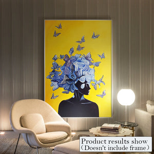 Abstract Girl With Butterfly Canvas Print