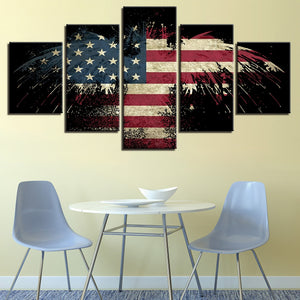 Eagle American Flag Canvas Print 5 Pieces