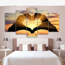 Hand Love Heart in Sunset Canvas Print 5 Piece