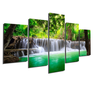 5 Panel Waterfall Painting Canvas Print
