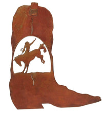 Cowboy Boot - Bronco Rider Scene - natural rust patina - metal wall art - #7055inc