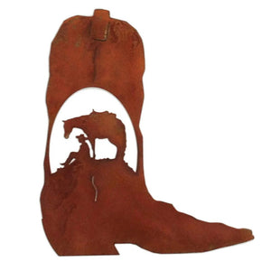 Cowboy Boot - Horse & Cowboy Scene - natural rust patina - #7055inc